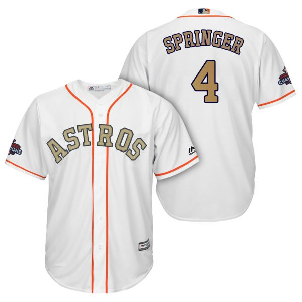 buy popular ca579 d3183 Majestic George Springer Houston Astros Gold Jersey